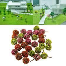 mixed 30pcs flower trees model train garden scenery landscape
