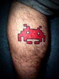 retro gaming tattoos ryans tgs style space invader the games shed