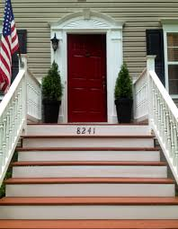 Number Stairs by House Number On Wooden Front Steps Done With Rustoleum Restore