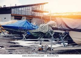 Awning Boat Row Boats Storage Winter Under Awning Stock Photo 640670986