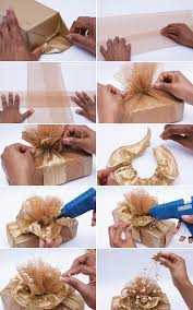 Gift Wrapping Bow Ideas - diy christmas gift wrap ideas topper bow gold ribbon package