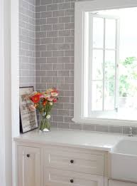 Backsplash Subway Tiles For Kitchen by Smoke Glass Subway Tile White Shaker Cabinets Shaker Cabinets