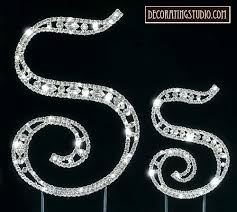 s cake topper marquise cut monogram cake topper initial s