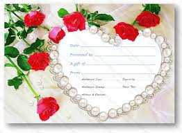 wedding gift card pearl wedding gift certificate template