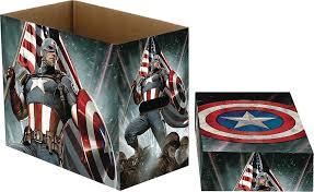 marvel comics short comic book storage box captain america stars