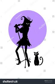 halloween cat silhouette background vector black silhouette witch microphone cat stock vector