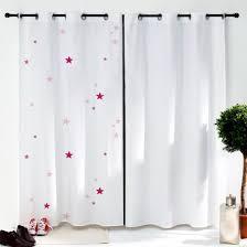 rideaux chambre d enfant rideau blanc étoiles roses pour chambre d enfant