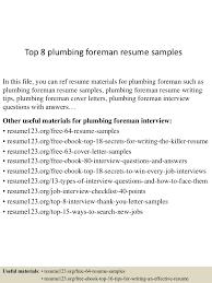 Construction Foreman Resume Sample Top8plumbingforemanresumesamples 150530090735 Lva1 App6891 Thumbnail 4 Jpg Cb U003d1432976905