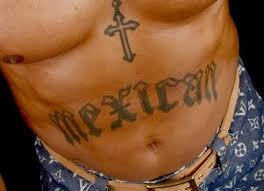 cross and mexican text tattoo on stomach for men photos