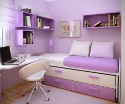 white wooden floating desk and white purple wooden bed also white