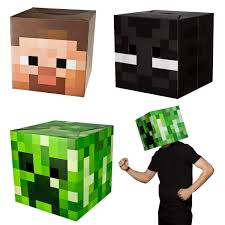 Minecraft Enderman Halloween Costume Minecraft Box Heads Fancy Dress Costume Party Enderman Creeper