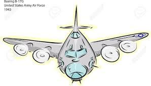 sketch of boeing b 17g world war ii bomber plane over white