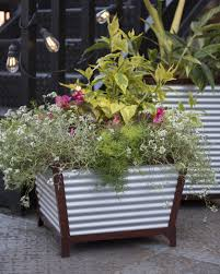 Self Watering Galvanized Self Watering Planters Tall Corrugated Metal Planters