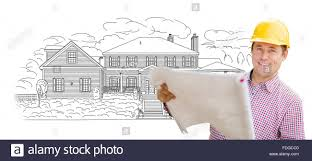 home drawing smiling contractor holding blueprints over custom home drawing