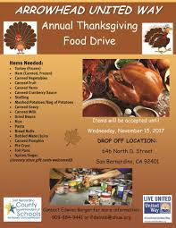 2017 thanksgiving food drive arrowhead united way