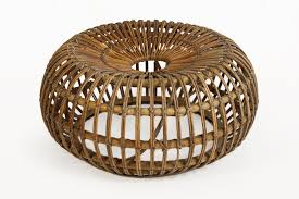 large rattan ottoman by ico parisi for bonacina 1950s for sale at