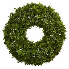 nearly 22 in boxwood wreath 4554 the home depot