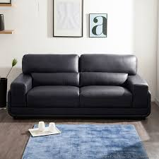 delamaison canapé canapé en cuir melvina promo canapé canapés en cuir et bois noir