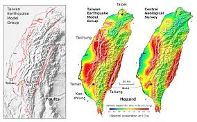 Map Of Taiwan Comparison Of The Active Fault Map Left And Probabilistic Hazard