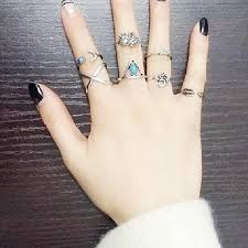 small fingers rings images 7pcs set trendy vintage turkish ring set small elephant moon oval jpg