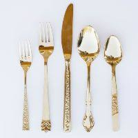 Gold Table L Assorted Silver Servingware L Mismatched Vintage Silver Utensils L