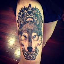 indian pattern and wolf design of tattoosdesign of tattoos