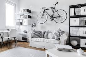 One Room Modern Black And White One Room Apartment Stock Photo Picture And