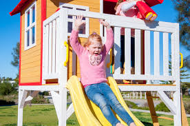 kids elevated wooden fun shack cubby house play house with slide