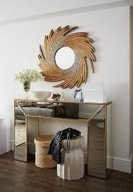 Mirror And Table For Foyer Gold Mirrored Console Table With Gold Sunburst Mirror