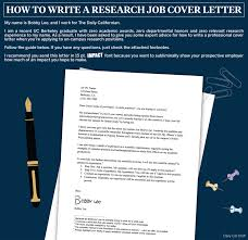 how to write a cover letter for research positions the daily