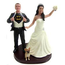 wedding cake topper with dog batman and groom with a dog wedding cake toppers