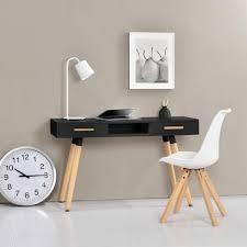 bureau retro bureau rétro 75x120x45cm noir mat laqué tiroir avec chaise blanc