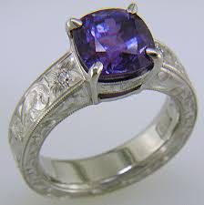 coloured sapphire rings images Engraved platinum ring with color change sapphire bijoux gif