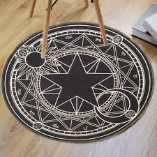 Round Bathroom Rugs Black White Crystal Velvet Fabric Magic Circle Round Bathroom Rug