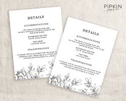 wedding invitations details card wedding details template information card template wedding