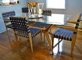 custom dining room set ash glass and webbing by white dove