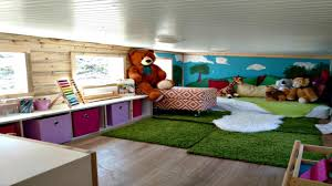 contemporary modern aesthetic with oversized loft playroom tiny