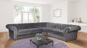 Chesterfield Corner Sofas Nelson Chesterfield Corner 2c2 Chenille Fabric Sofa Charcoal Grey