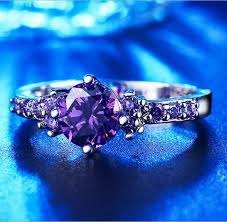 white gold and purple wedding fashion white gold plated purple amethyst cz rings for