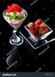 chocolate mint martini strawberries chocolate mousse chilled martini glass stock photo