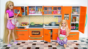 new barbie doll kitchen unboxing دمية باربي جديدة المطبخ nova