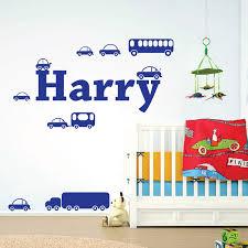 wall designer wall art stickers personalised name boys wall art sticker cartoon truck cars bus caravan