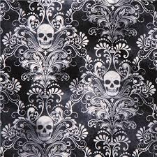 charcoal skull ornament fabric timeless treasures usa