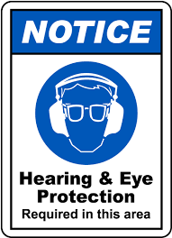 ansi z535 table 130 7 f hearing eye protection sign g2416 by safetysign com