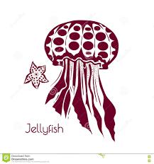 hand drawn tattoo stylized jellyfish marine life sketch