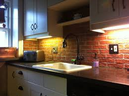brick backsplash in kitchen narrow kitchen spaces decoration ideas with red brick backsplash