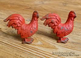 barn red rooster metal knob farm animal drawer pull nursery