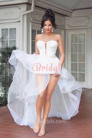 wedding dresses high white sheer organza flounced high low beaded strapless