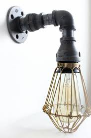 industrial lighting wall sconce w brass cages steampunk
