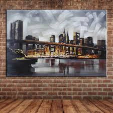 popular framed wall murals buy cheap framed wall murals lots from modern abstract new york city wall picture hand painted oil painting canvas art river bridge wall